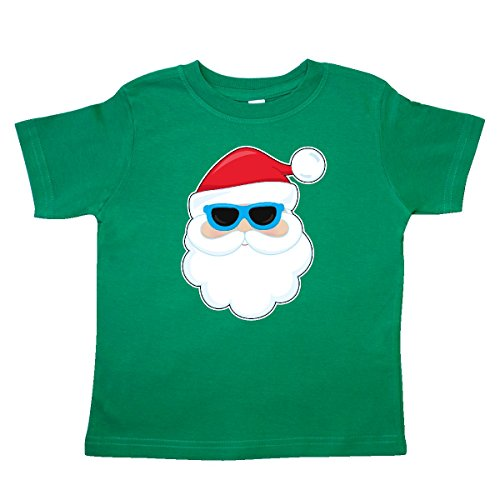 1052 Glasses - inktastic - Santa Head with Sunglasses Toddler T-Shirt 4T Kelly Green