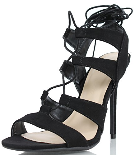 Wild Diva Women's Adele 236 Gladiator Lace Up Open Toe Strappy Ankle Wrap High Heel Pump,Black,10 (Wrap Ankle Strappy)