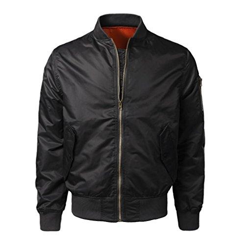 - Muranba Clearance Men Casual Solid Zipper Bomber Jacket Outwear