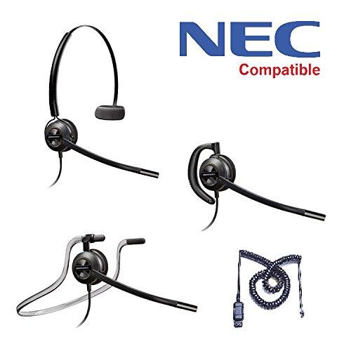 NEC Compatible Plantronics EncorePro 540 Headset Bundle - NEC Elite | Dterm Series i | Dterm IP | Dterm Elite | Series E | DSX | Aspire | NEC i-Series | Dterm Series III | Univerge | DT300 | DT700 ()