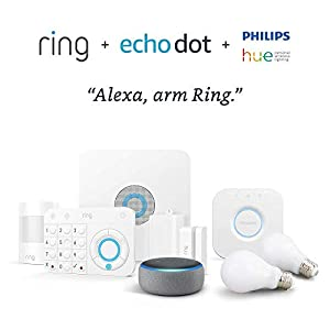 Ring Alarm 5 piece kit with Echo Dot and Philips Hue 2-Bulb Kit – Alexa Guard bundle