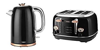 Set Of 2 Tower Kitchen Rose Gold Black Retro Stylish Appliances 1 7 Litre Jug Bottega Kettle Bottega 4 Slice Toaster