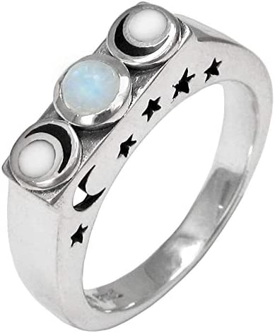 Natural Moonstone Ring Mother/'s Day Gift Ring Size US 4 to 15 925 Sterling Silver Birthstone Engagement Rings for Women Wedding Ring