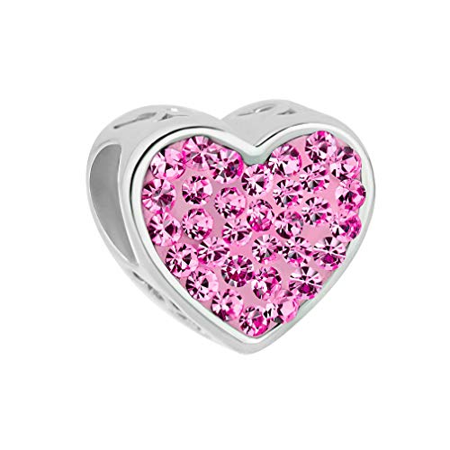 LuckyJewelry Pink Crystal Wife Heart Charm - Sterling Silver - fits Pandora, Biagi & Troll ()