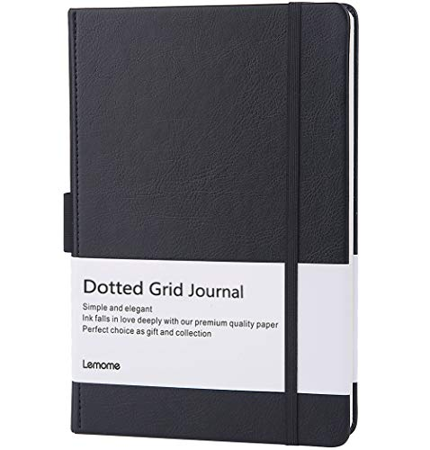 Dotted Bullet Notebook with Pen Loop - Elegant Black Leather Notebook with Premium Thick Paper (A5) - Lemome Best Gift for You ()