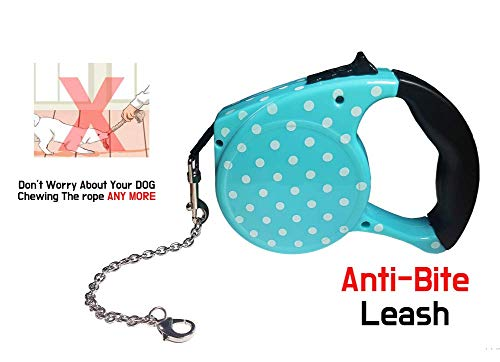 - Retractable Dog Leash/Anti-Chewing Steel Chain Design/for Small and Medium Dogs (Maximum Tension 33 pounds) Break & Lock System/ 16.5ft Leash for Dog Walking