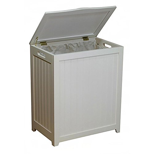 White Rectangular Wood Laundry Hamper with Interior Bag by GEN