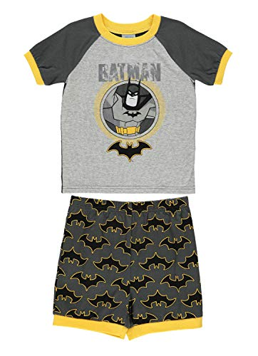 Jellifish Kids DC Super Friends Batman Boys 2-Piece Cotton PJ - Short-Sleeve Top & Shorts 2T Grey