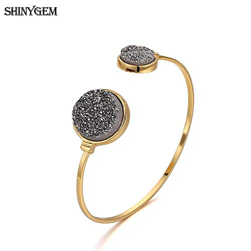 Big Stone Bangle Bracelet | Gold Plating Open Cuff Bangles for Women | Adjustable Antique Round Natural Stone Bangles ()