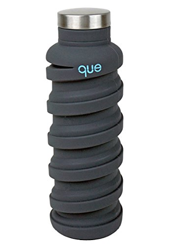 que Bottle - Collapsible Water Bottle. BPA-Free, Leak Proof, Lightweight Travel Bottle. 20oz - Metallic Charcoal