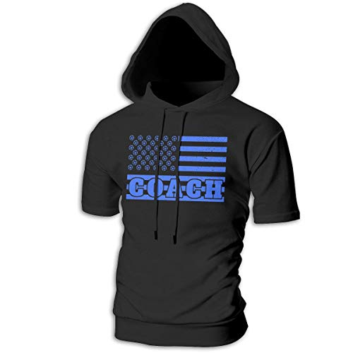 ZOE-SHOP Soccer Coach in Flag Mens Hipster Hip Hop Short Sleeve Longline Pullover Hoodies Shirts -
