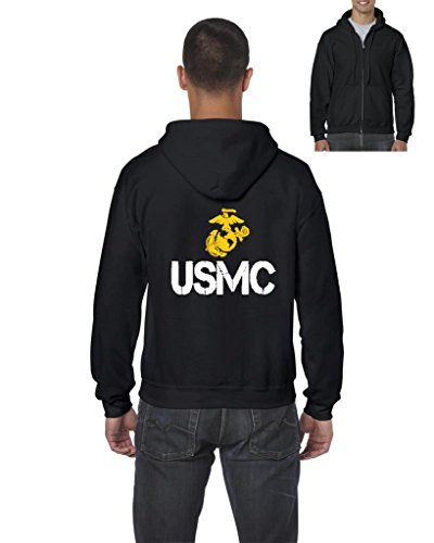 Blue Tees USMC US Marine Corps People Fashion Clothing Best Friend Xmas Mothers Day Gifts Full-Zip Men's Hoodie Large Black -