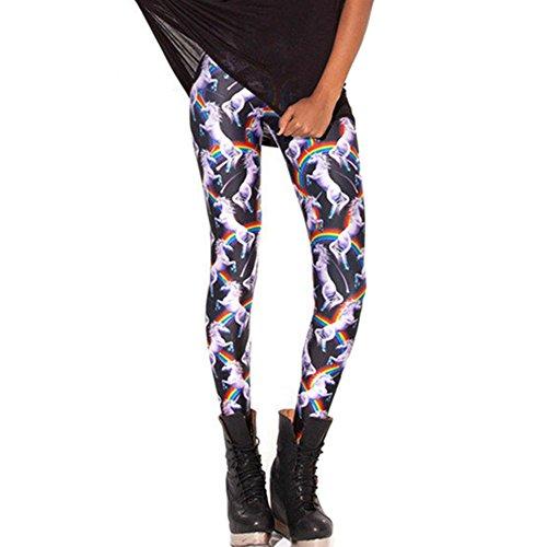 [JOYHY Women's Plus Size High Waist Printed Leggings Pants Footless Tights Rainbow Unicorn L084] (Plus Size Tiger Costumes)