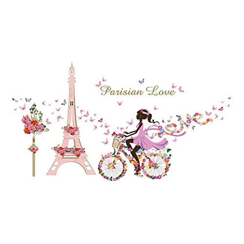 3D Wall Decals Stickers Pink Paris Tower Butterfly Flower Girl Removable Kids Room Art Nursery Bedroom Home Decorations Large 23.6inch x 35.4inch - Removable Room