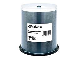 Verbatim Cd-r 700mb 52x White Thermal Hub Printable Recordable Media Disc - 100pk Spindle