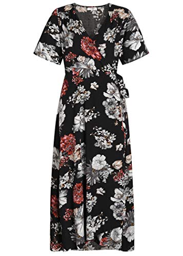 Pintage Women's Boho Wrap Dress Split Maxi Dress L Black White Daisy