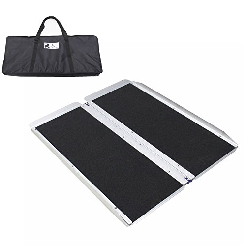 Ruedamann 3' Aluminum Extreme Wider And Stronger Wheelchair Ramp Folding Portable With Carrying Bag Threshold Ramp 3 feet MR607W-3