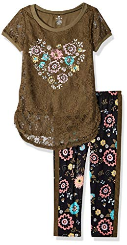 Pant Knit Girls - One Step Up Girls' Big 2 Pc Knit Top and Legging Set, Olive Lace, 10/12