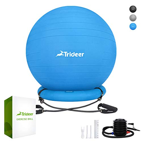 (Trideer Ball Chair, Exercise Stability Yoga Ball with Base & Resistance Bands for Home and Office Desk, Flexible Ball Seat with Pump, Improves Balance, Core Strength & Posture (Dark Blue,)