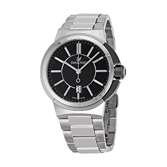 e2aaedfbd316 Image Unavailable. Image not available for. Color  Swarovski Piazza Grande  Black Dial Stainless Steel Quartz Mens Watch 1094353