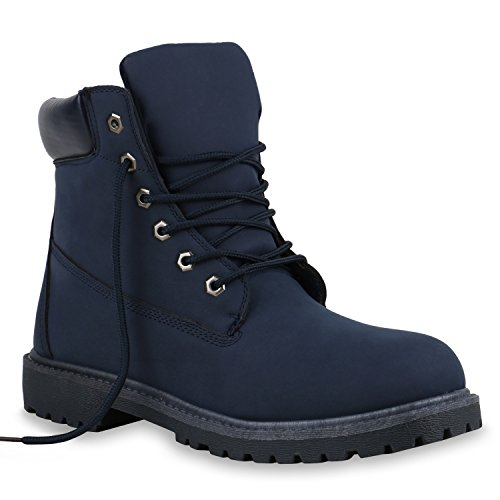 Unisex Damen Herren Warm Gefütterte Damen Worker Boots Stiefeletten Outdoor Flandell Dunkelblau Blau