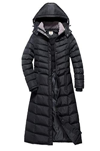 (ELORA Women's Full Length Winter Fleece Lined Plus Size Maxi Puffer Coat 1X, Black)