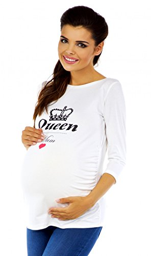 Zeta Ville - T-shirt Camiseta premamá estampado Queen Mum - para mujer - 209c Ecru