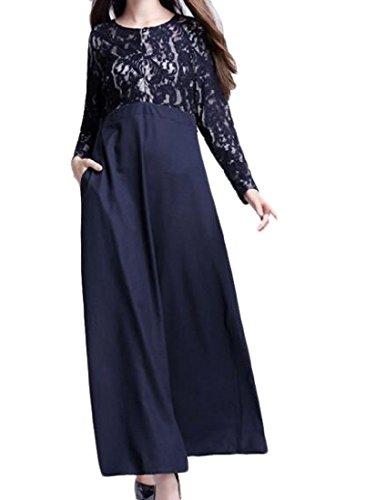 Coolred-femmes Dentelle Musulmane Abaya Creux Robes Solides Manches Longues Bleu Violacé
