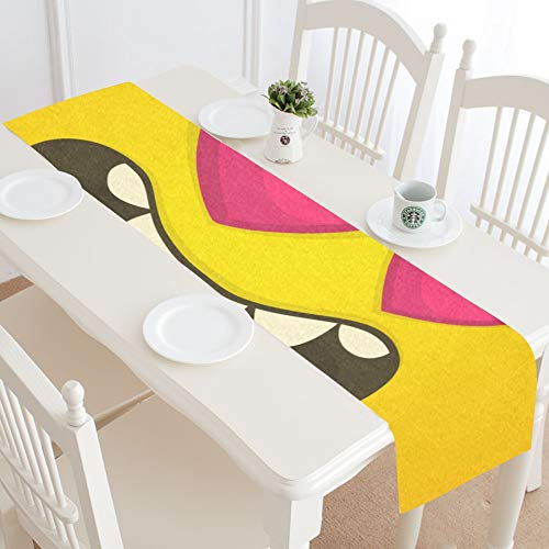 WIEDLKL Cartoon Cool Monster Face Love Heart Table Runner Kitchen Dining Table Runner 16x72 Inch for Dinner Parties Events Decor -