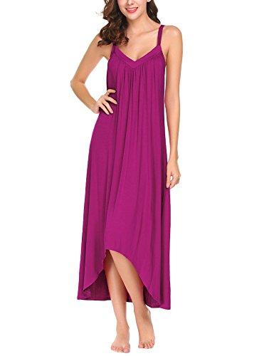 (Goldenfox Long Shirt Sleepwear Womens Cotton Knit Nightgown Dress(Rose Red,X-Large) )
