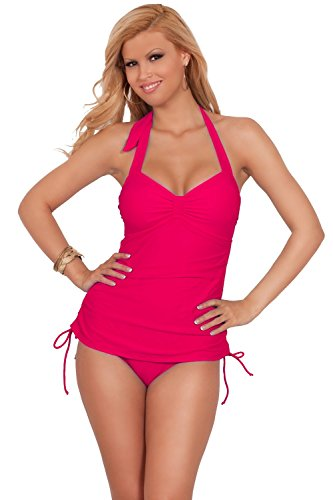 Women One Piece Halter Slimming Ruched S - Hot Pink One Piece Shopping Results