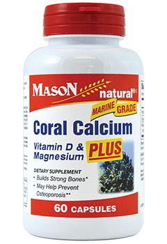 Coral Calcium Plus Vitamin - Mason Natural Coral Calcium 1500 mg Plus Vitamin D & Magnesium Capsules - 60ct, Pack of 2