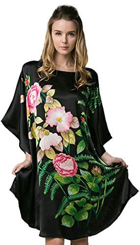 - Ledamon Women's 100% Silk Short Robe Nightgowns Batwing Sleeved Nightwear Sleepwear Pajama - Classic Colors and Prints (Black)