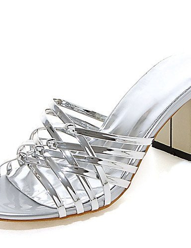 ShangYi Women's Shoes Patent Leather Chunky Heel Open Toe Sandals Dress Pink / Silver / Gold golden JQwdtn0QE