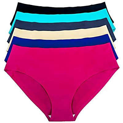 Barbra's 6 Pack Invisible No-Show Seamless Small to Plus Size Healthy Panties