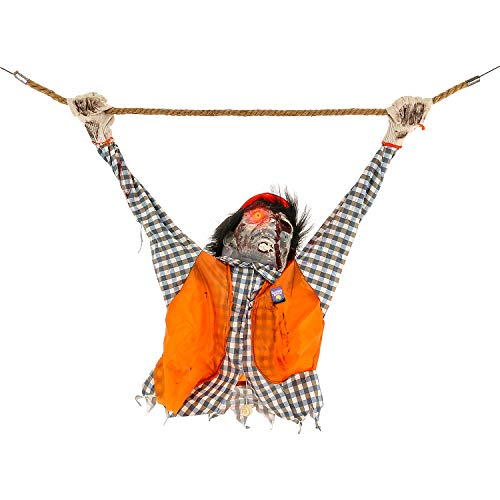 Halloween Haunters Animated Hanging Shaking Electrocuted Electrician Construction Worker Zombie Man Prop Decoration - Shocked by Power Line, Flashing Red LED Light-Up Eyes - Haunted House Display