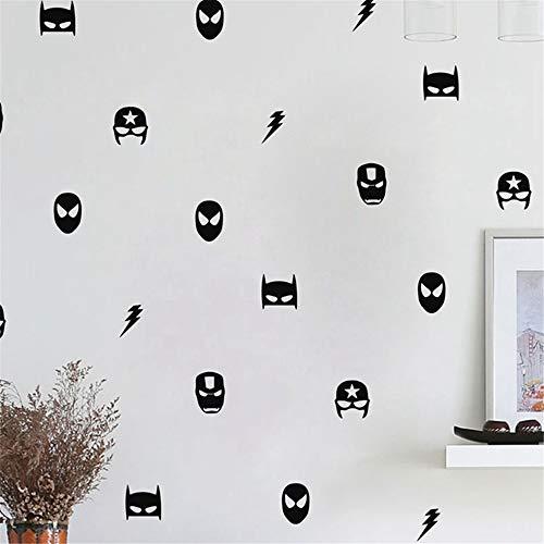 Gails Vinyl Removable Wall Stickers Mural Decal Superhero Marvel Mask Kids Boy Bedroom Decor Batman Superman Ironman Flash Captain America ()