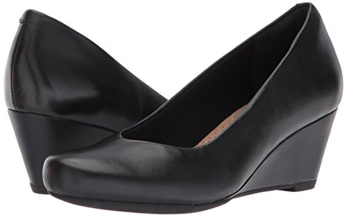 CLARKS Women's Flores Tulip Wedge Pump,Black Leather,8 M US by CLARKS (Image #6)