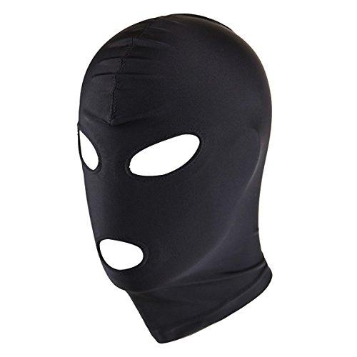 FEESHOW Unisex Blindfold Mask Spandex Zentai Eye Face Open Mouth Hood Head Bondage Mask (Open Eye Open Mouth, One - For Women Hoods