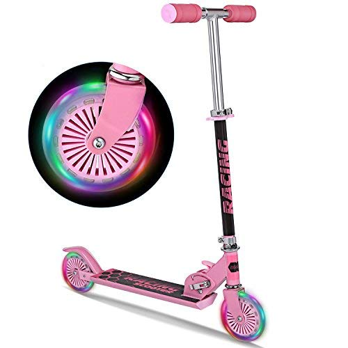 Kick Aluminum Scooter - Pink Scooters Folding Portable Aluminum Kick Scooter With Light Up Wheels For Girls Kids Toddlers, Ages 3-17 (US Stock) (Type2 - Pink)