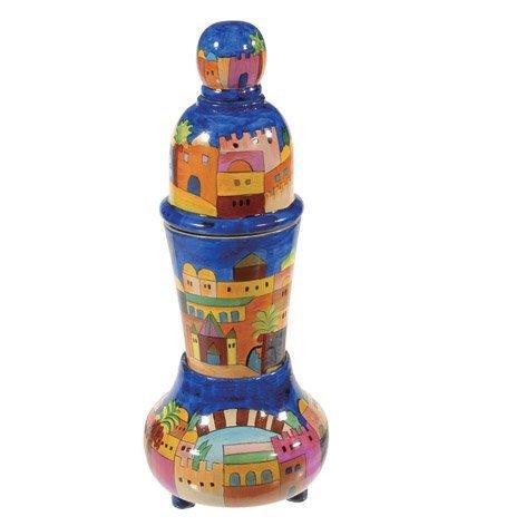 (Havdalah Set For Braided Candle + Spice Box Holder - Yair Emanuel TRAVEL SHABBAT AND HAVDALAH SET JERUSALEM (Bundle))