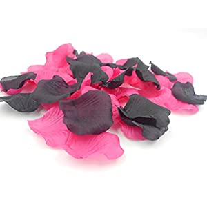 1000PCS Decorative Artificial Silk Fabric Mixed Rose Petals for Romantic Night Wedding Aisle Runner Hot Pink and Black Party Decorations 3