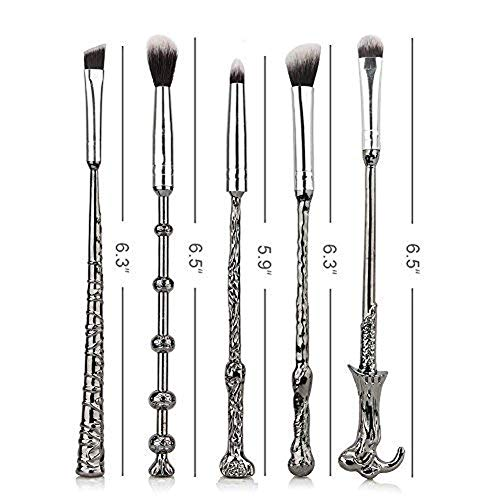 Wizard Wand Makeup Brushes, 5 Set Beauty Cosmetic Tools with Necklace, Bracelet