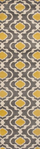 "Moroccan Trellis Contemporary Gray/Yellow 2' x 7'2"" Indoor Area Rug Runner"