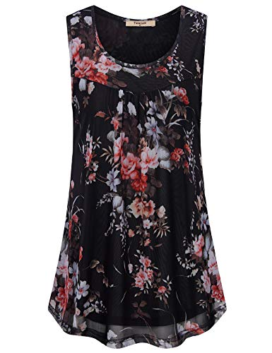 - Timeson Black Sleeveless Tops for Women, Summer Flowy Tank Tops for Women Casual Business Work Tops Pleated Front Elegant Blouses Floral Layers Office Tunic Tops for Leggings Multi-Black Large