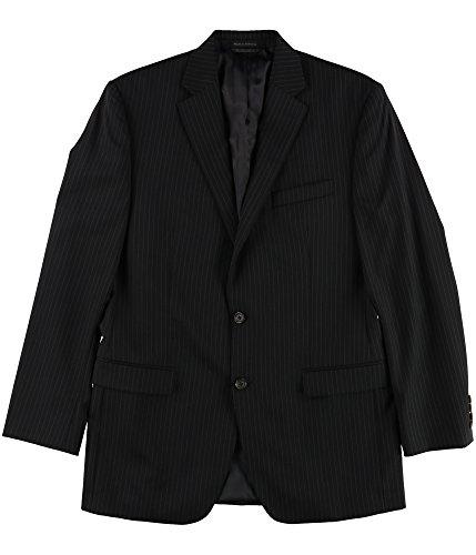 (Ralph Lauren Mens Classic Pinstripe Two Button Blazer Jacket, Black, 40 Long)