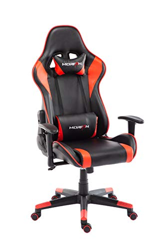 Morfan Gaming Chair Massage Function Ergonomic High Back Recliner Swivel Office Computer Desk Chair Including Headrest and Lumbar Pillow F Series Black Red