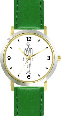 Skeleton No.2 - WATCHBUDDY DELUXE TWO-TONE THEME WATCH - Arabic Numbers - Green Leather Strap-Size-Children's Size-Small ( Boy's Size & Girl's Size )