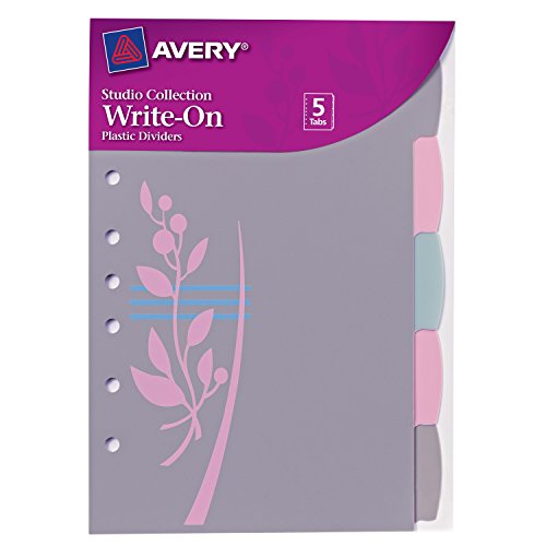 Avery Mini Studio Collection Write-On Tab Dividers with Retro Flower Design on Divider, 5.5 x 8.5-Inches , 5 Tabs (16187) by Avery