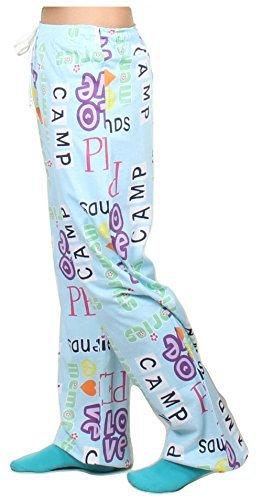 Gilbins Unisex Youth 100% Knit Jersey Cotton Drawstring Lounge Pajama Pants (Small/Medium 10-14, Camp Peace Love)